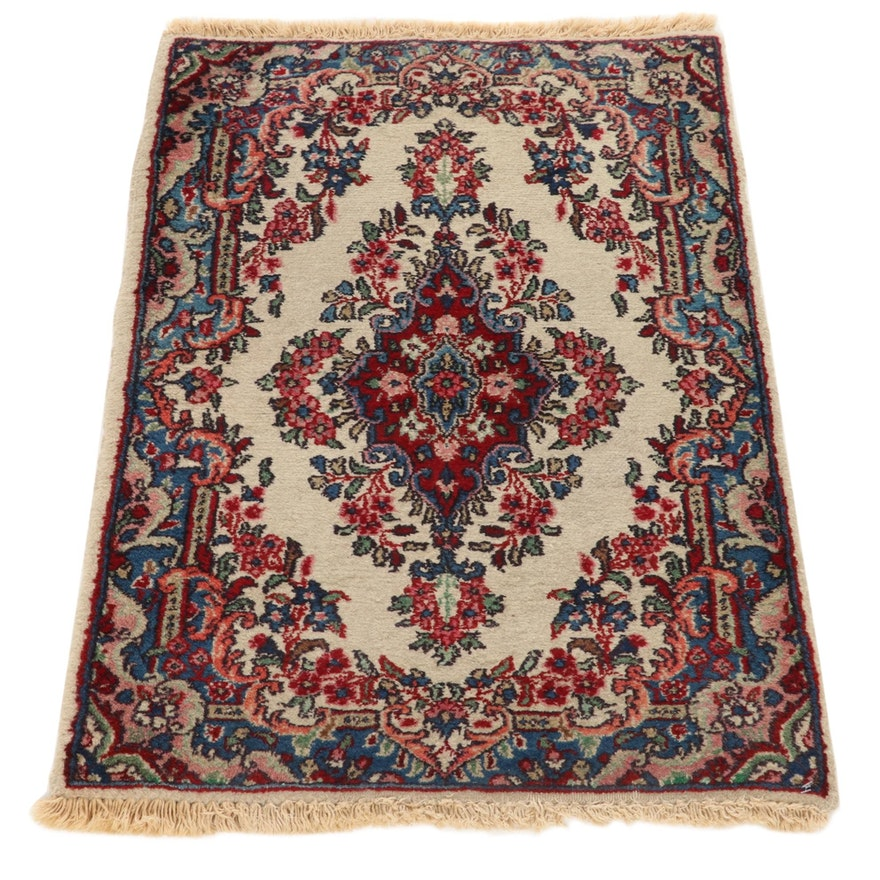 2'2 x 3'2 Hand-Knotted Persian Kazvin Accent Rug, 1970s