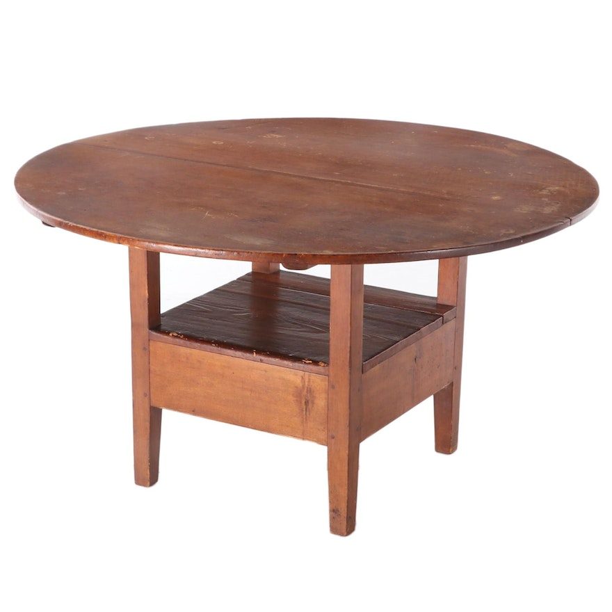 American Primitive Pine and Cherrywood Hutch Table, 19th Century