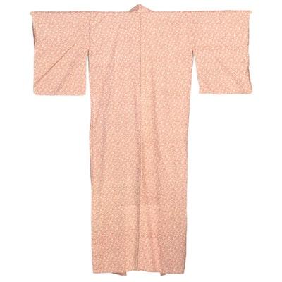 Japanese Autumnal Woven Foliate Komon Kimono