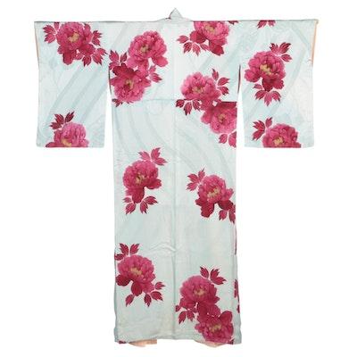 Light Blue Textured Silk Botan Patterned Kimono