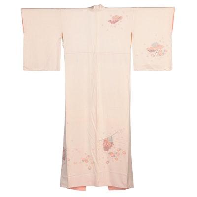 Pastel Peach Tone Floral Yuzen Dyed Hōmongi Kimono