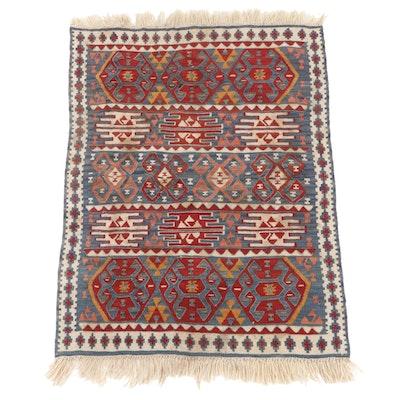 2'8 x 3'11 Handwoven Caucasian Turkish Kazak Kilim Accent Rug, 1980s