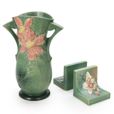 "Roseville Pottery ""Clematis"" Handled Vase and Bookends, 1940s"