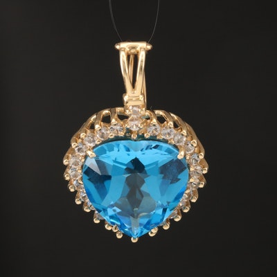14K 18.02 CT Topaz and White Topaz Heart Enhancer Pendant