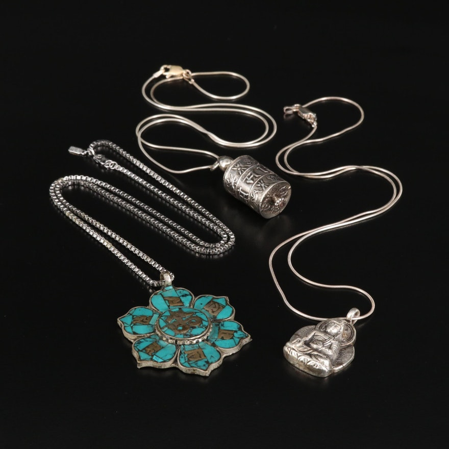 Buddhist and Hindu Jewelry Including Turquoise Lotus Pendant and Sterling