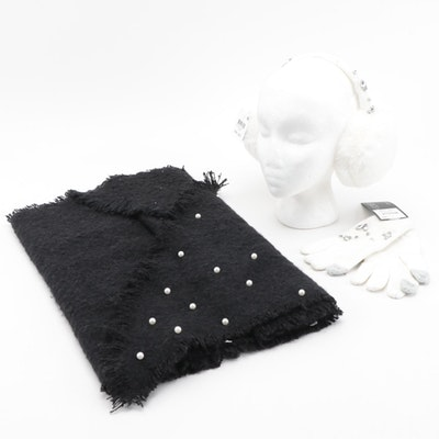 INC International Concepts Embellished Earmuffs and Gloves Set with Black Scarf