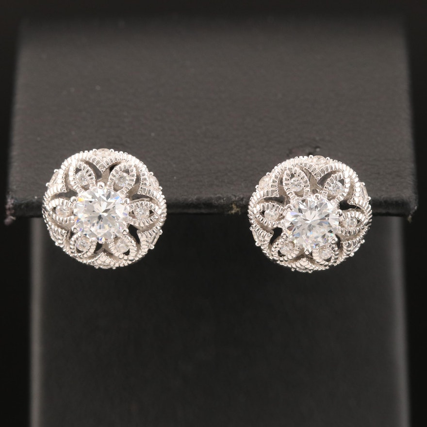 Sterling Cubic Zirconia Flower Pattern Stud Earrings