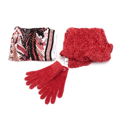 Charter Club Red Knit Scarf and Gloves with INC Paisley Patterned Scarf