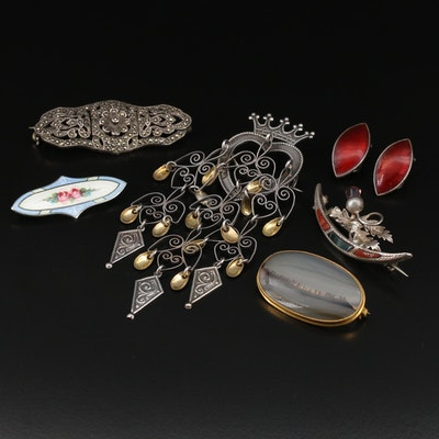 Vintage Jewelry Featuring Norwegian Solje and Victorian Scottish Brooches