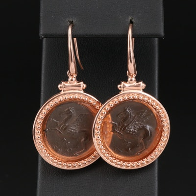 Sterling Silver Molded Glass Pegasus Earrings