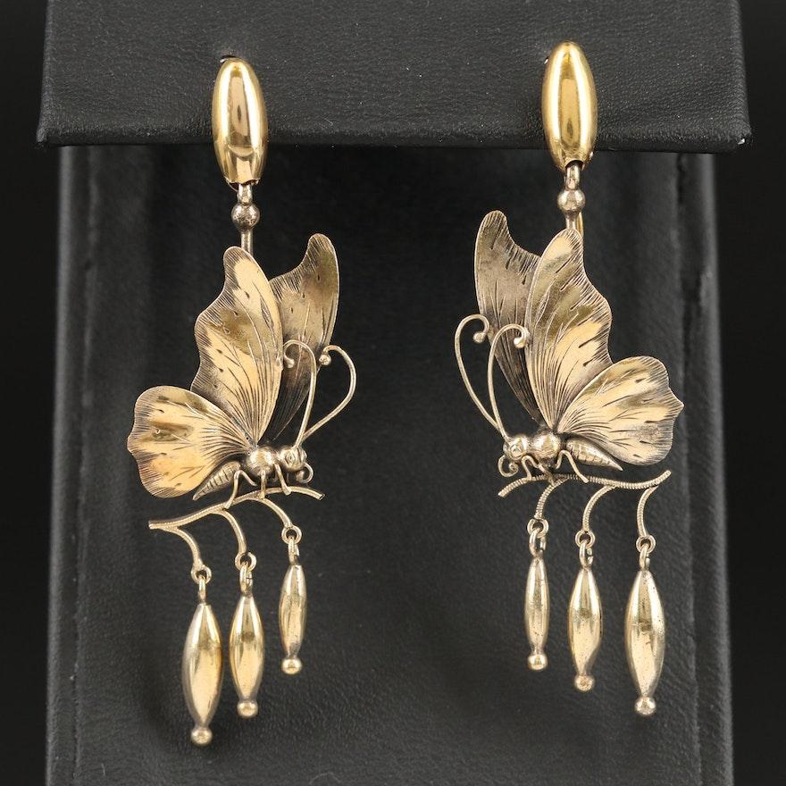 Art Nouveau 14K Butterfly Earrings