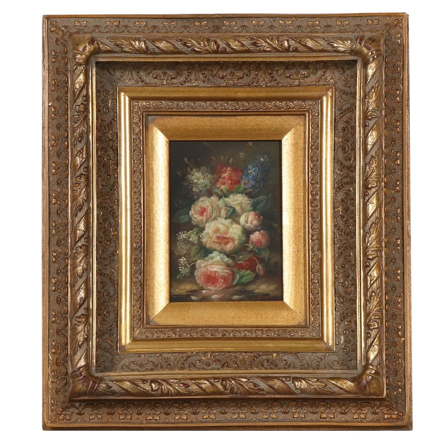 Floral Still Life Oil Painting, 20th Century