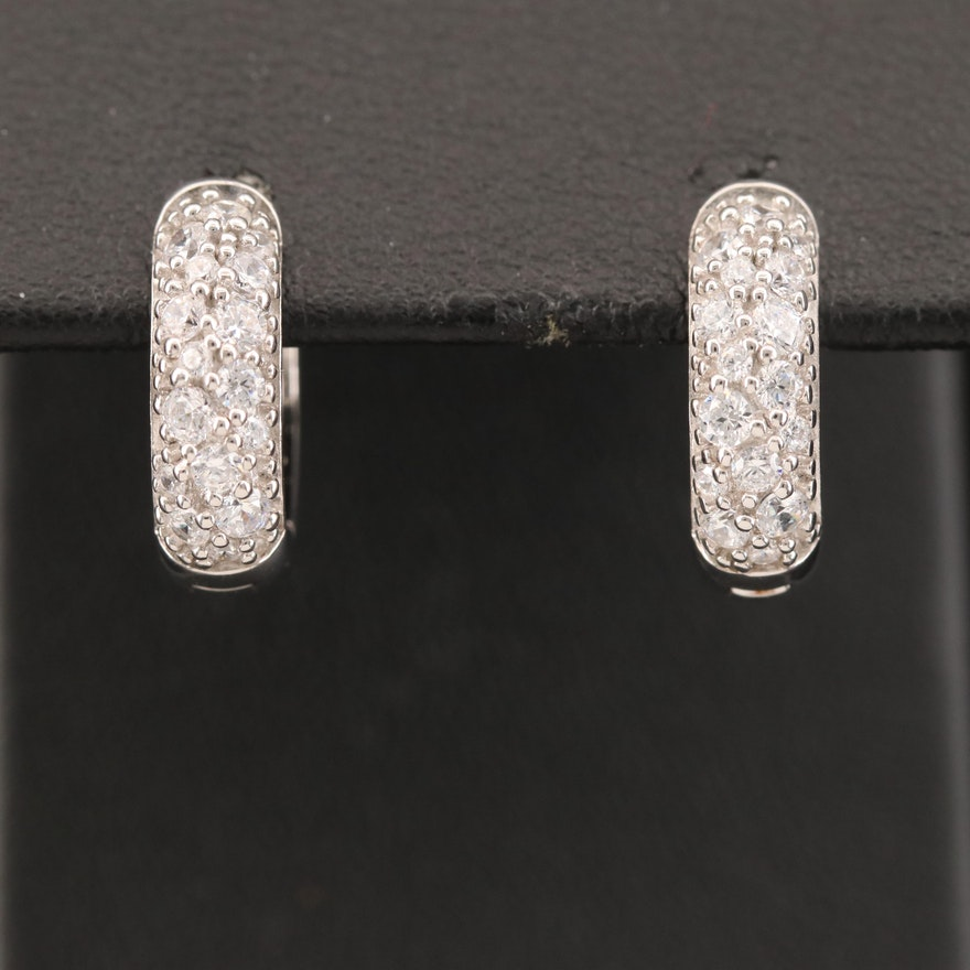 Sterling Cubic Zirconia Huggie Earrings