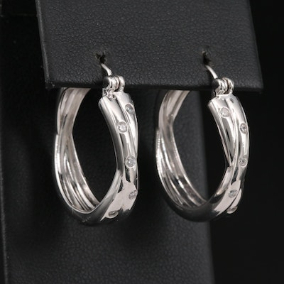 Sterling Silver Cubic Zirconia Crossover Hoop Earrings