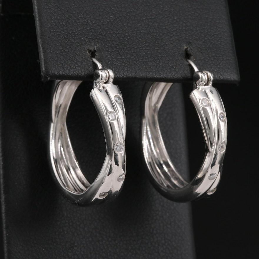 Sterling Silver Cubic Zirconia Crossover Hoop Earrings