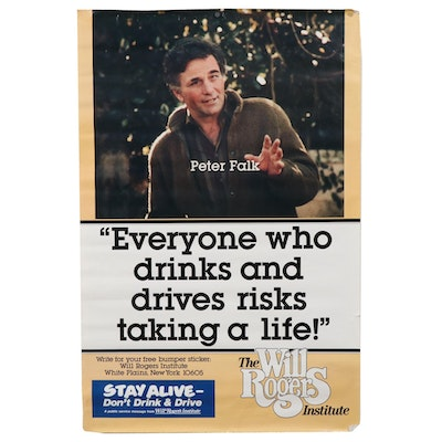 Public Service Poster featuring Peter Falk for the Will Rogers Institute, 1980s