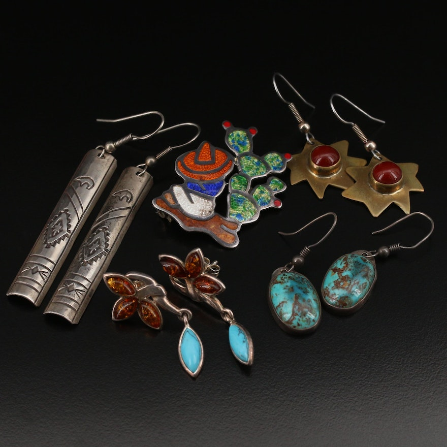 Vintage Jeronimo Fuentes Enamel Brooch Featured with Assorted Earrings