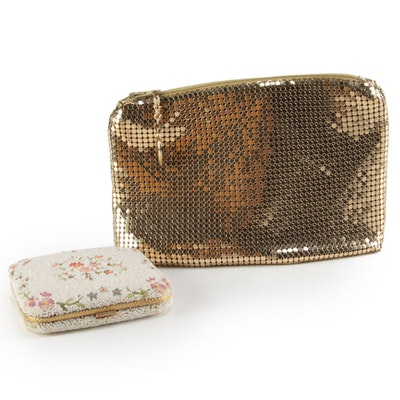 Whiting & Davis Metal Mesh Pouch and Stratton Micro Beaded Powder Compact