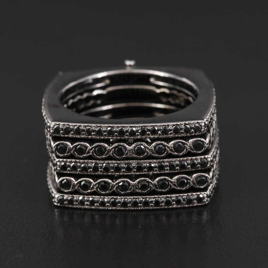 Sterling Silver Cubic Zirconia Harem Ring