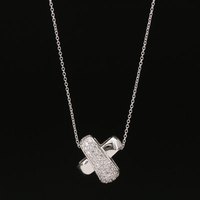 Sterling Pavé Cubic Zirconia 'X' Pendant Necklace
