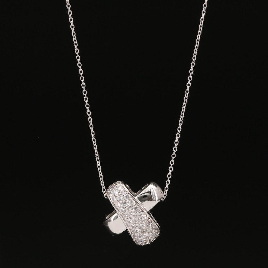 Sterling Pavé Cubic Zirconia 'X' Pendant Necklace