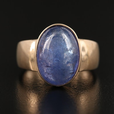 9K 8.25 CT Oval Tanzanite Cabochon Ring