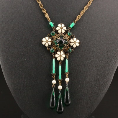 1930s Czech Glass and Enamel Necklace