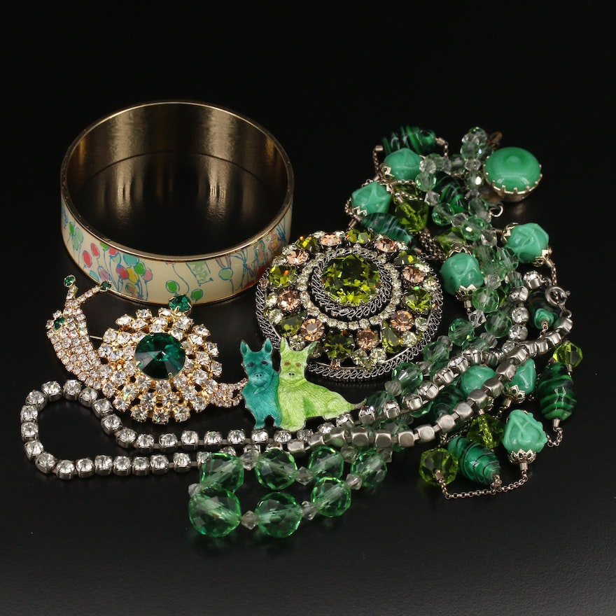 Vintage Jewelry Including Art Glass, Rhinestones and Lilly Pulitzer