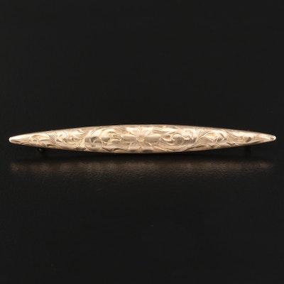 Antique 10K Engraved Bar Pin
