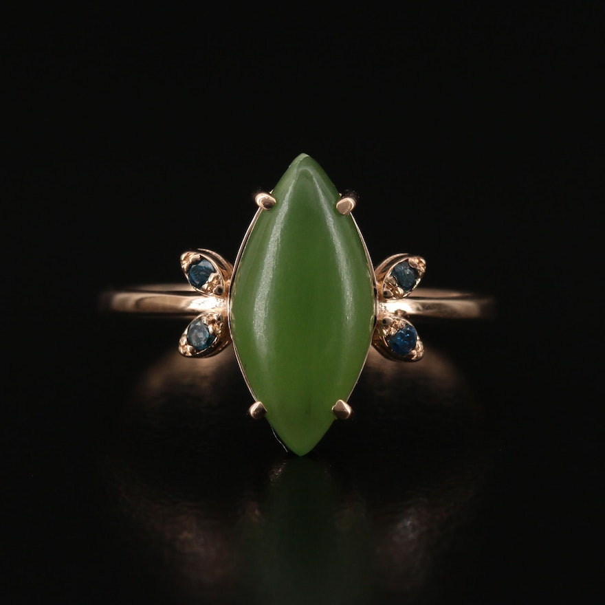 14K Nephrite and Diamond Ring