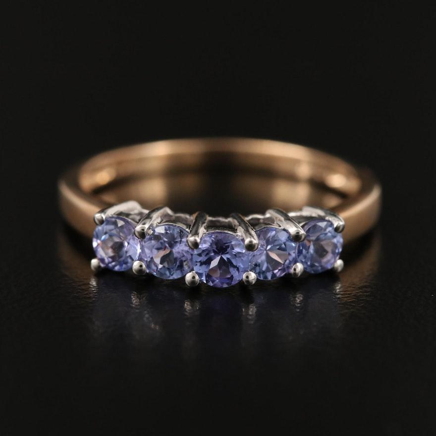 9K Round Faceted Tanzanite Ring