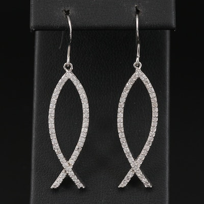 Sterling Silver Cubic Zirconia Ichthys Earrings