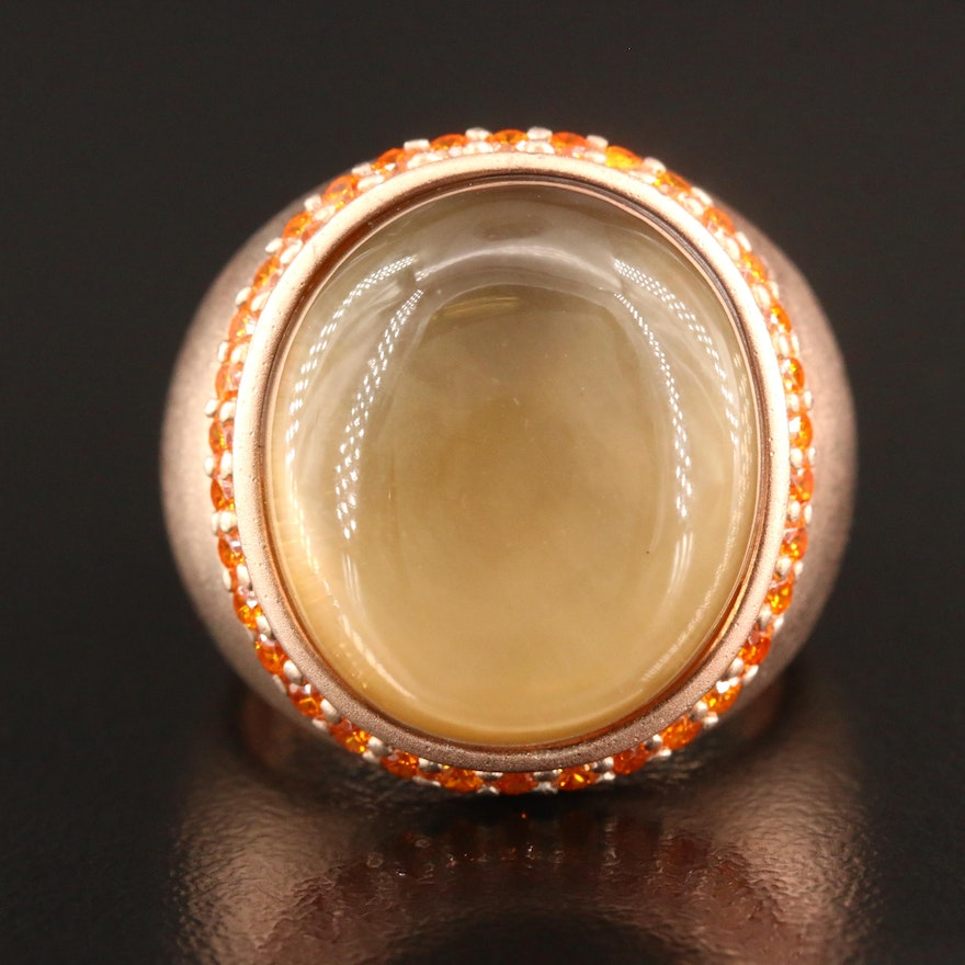 Sterling Silver Quartz and Mother of Pearl Doublet Ring with Matte Finish