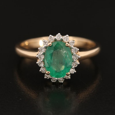 10K Emerald and Diamond Halo Ring