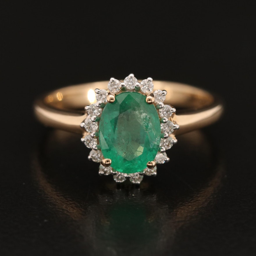 10K Emerald and Diamond Halo Ring