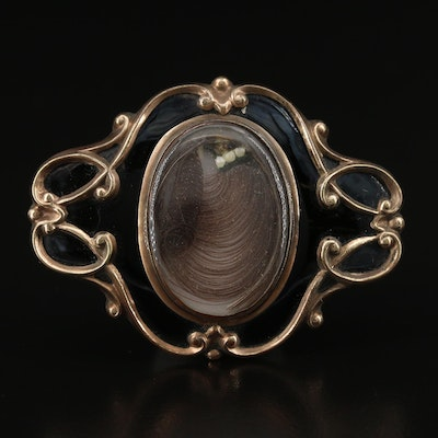 Early Victorian Pearl and Enamel Mourning Brooch with Hair