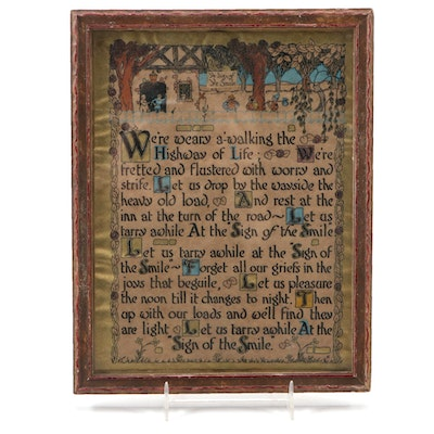 """Relief Print Illuminated Poem """"Sign of the Smile"""", Mid-20th Century"""