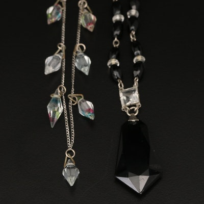 Art Deco Necklaces Including Sterling Iris Glass Fringe Necklace