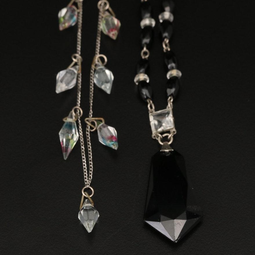 Art Deco Necklaces Including Sterling Iris Glass Fringe Necklace