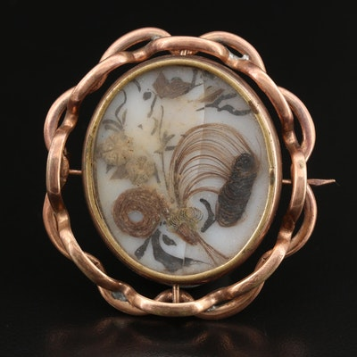 Early Victorian Reversible Mourning Brooch with Hairwork and Photograph