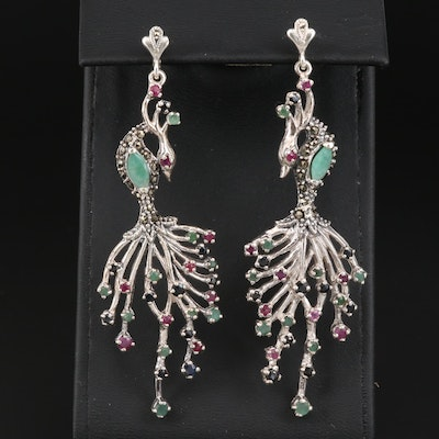 Sterling Silver Multi-Gemstone Stylized Peacock Earrings
