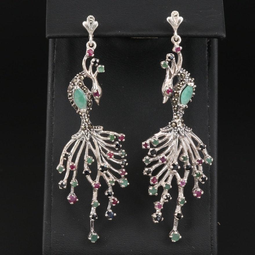 Sterling Silver Multi-Gemstone Stylized Peacock Earrings