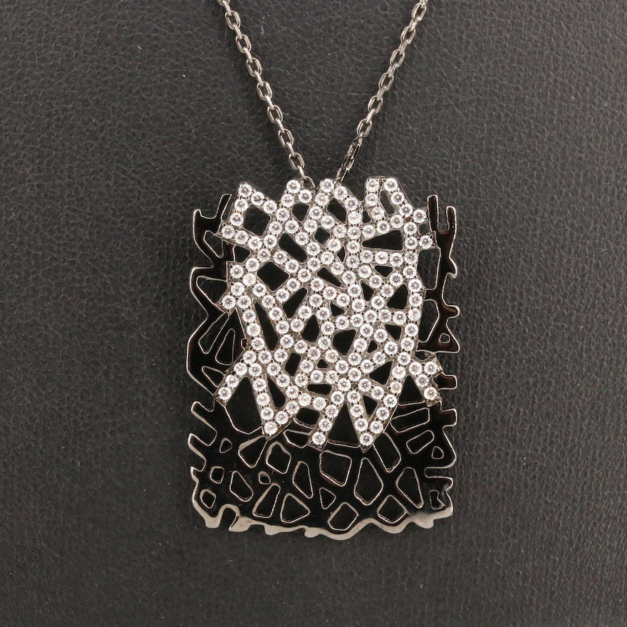 Sterling Silver Cubic Zirconia Openwork Pendant Necklace