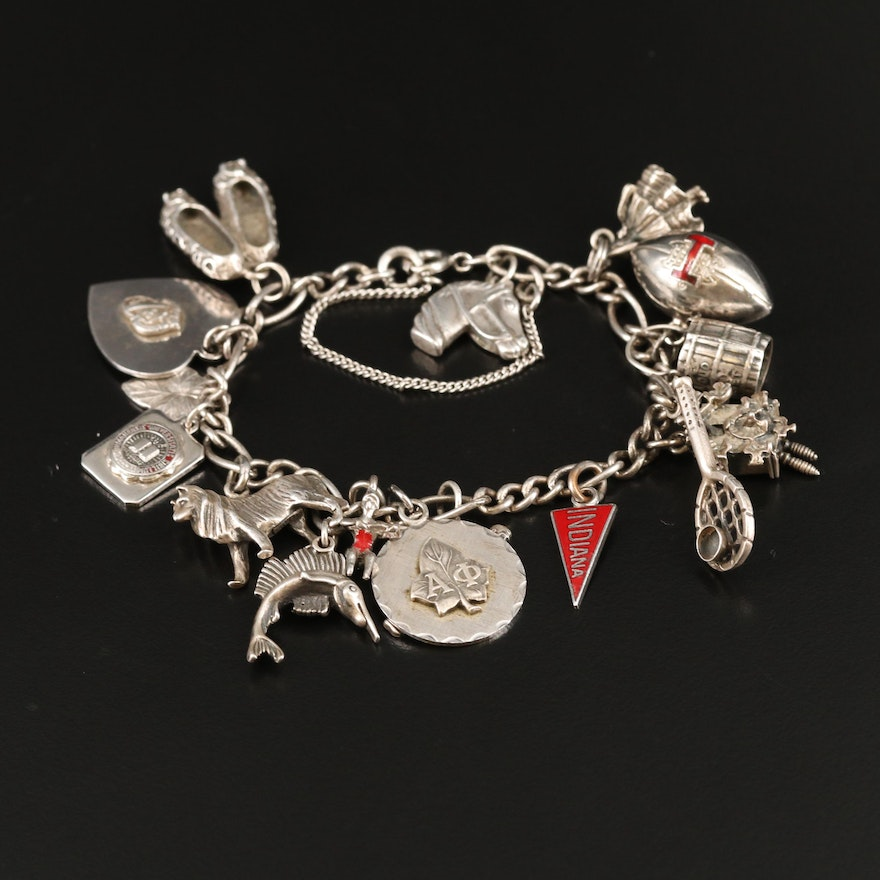 Vintage Sterling Charm Bracelet with Swimmer and Wolf Charms