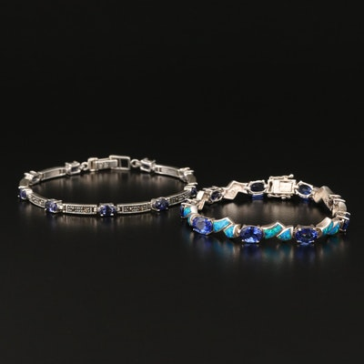 Sterling Bracelets with Cubic Zirconia, Opal and Marcasite