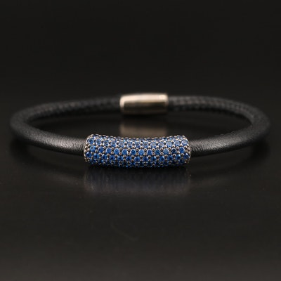 Sterling Spinel and Leather Bracelet