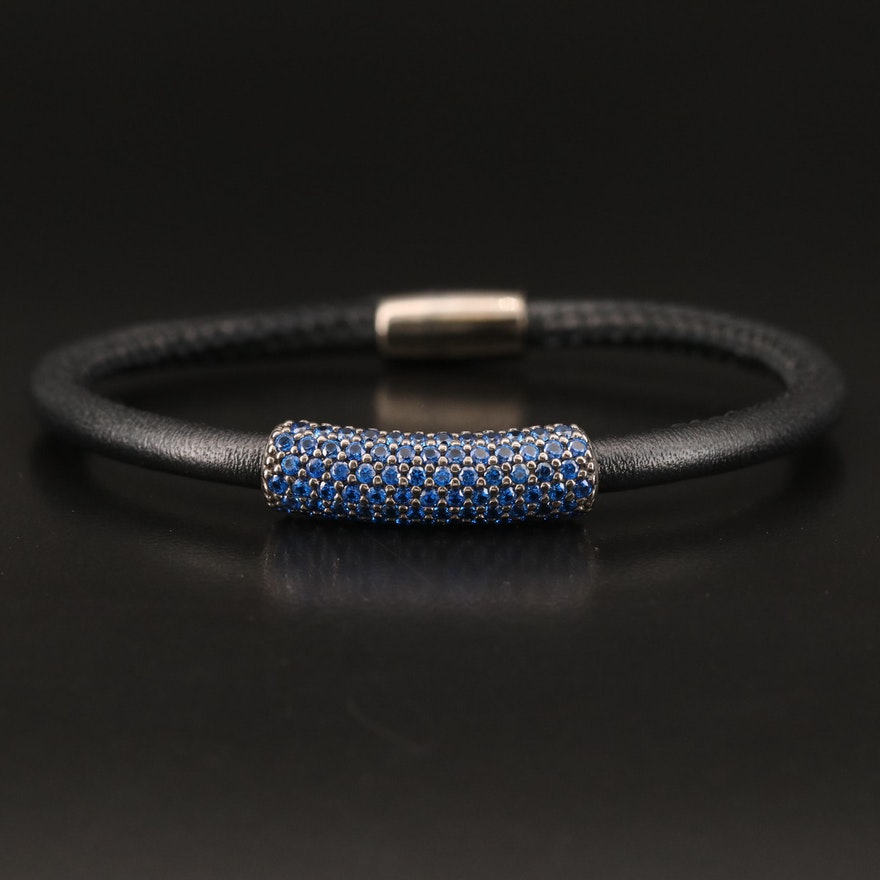 Sterling Spinel and Leather Bracelet
