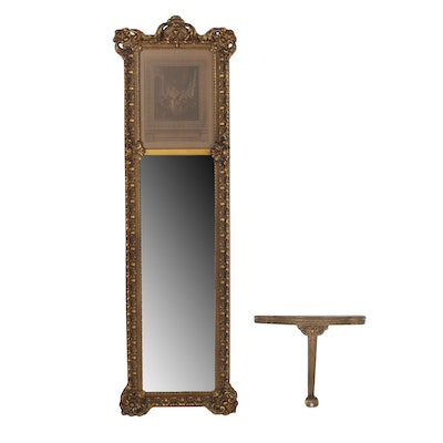 Giltwood and Composition Mirror with La Toilette Engraving after P.A. Baudouin