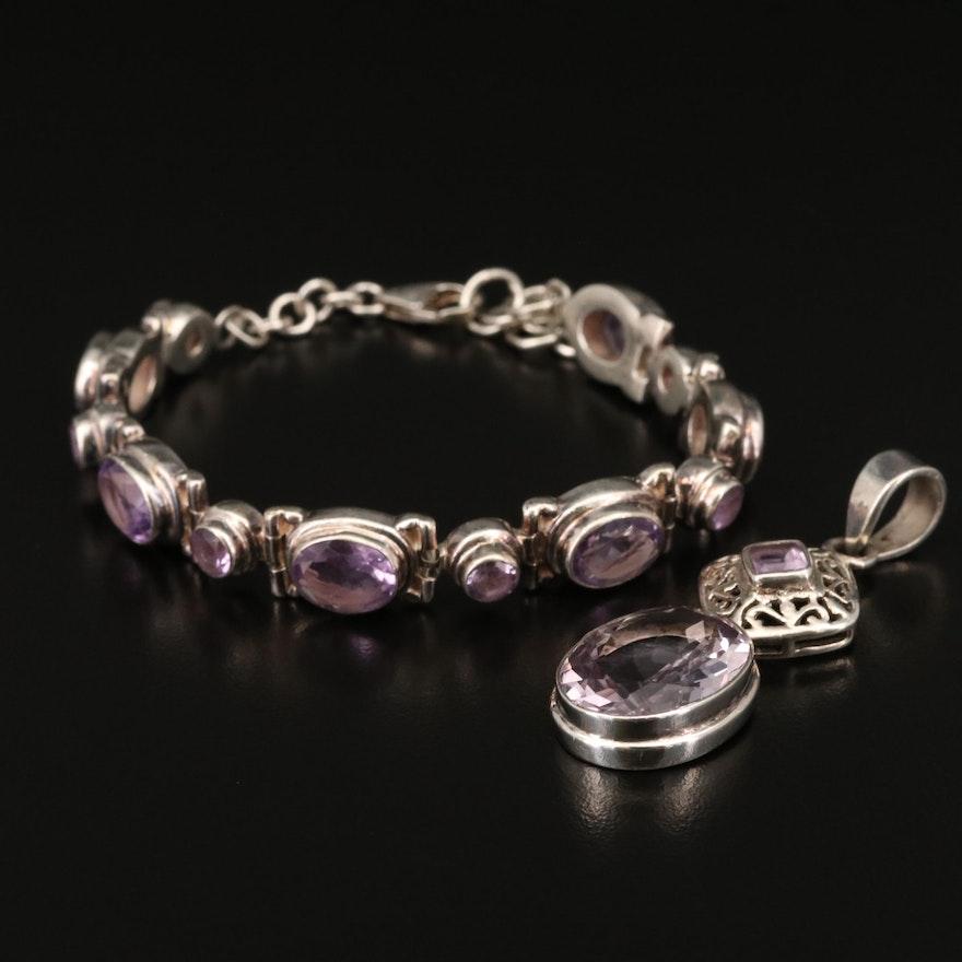 Sterling Amethyst Bracelet and Pendant