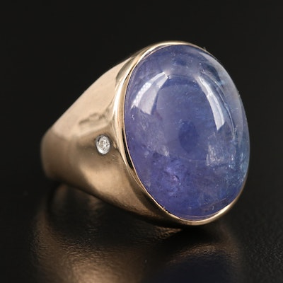 9K Tanzanite and Diamond Dome Ring
